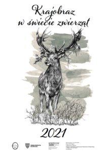 Okładka kalendarza na 2021 rok przedstawiająca jelenia szlachetnego.