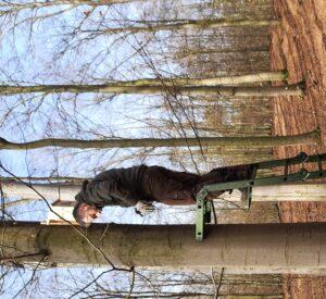 Pracownik parku stojąc na drabinie montuje skrzynkę