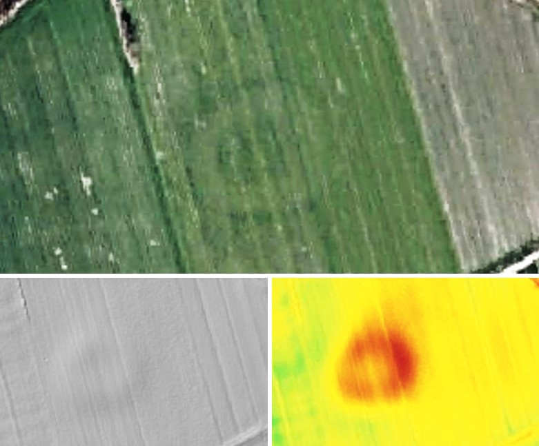 Zdjęcie przedstawia trzy rodzaje mapy jednego fragmentu terenu, wskazujące wyraźny okrąg wpisany w krajobraz.